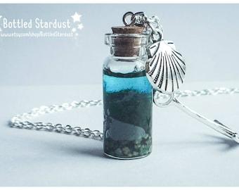 OCEAN BOTTLE - nautical bottle jewelry. ocean bottle necklace. anchor charm. seashell charm.