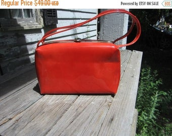 On Sale 1960s Mod Handbag Orange Red Purse