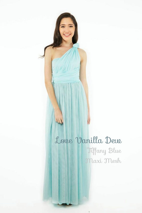 Bridesmaid Dress Infinity Dress Pastel Blue with Mesh Maxi