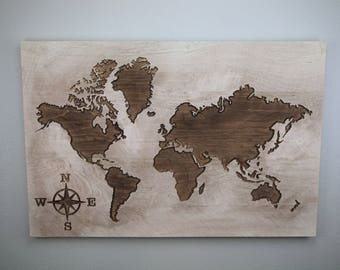 World Map Sign, Rustic World Map, Carved World Map, Wooden Sign, Large World Map Sign, Statement Piece, Antique Brown