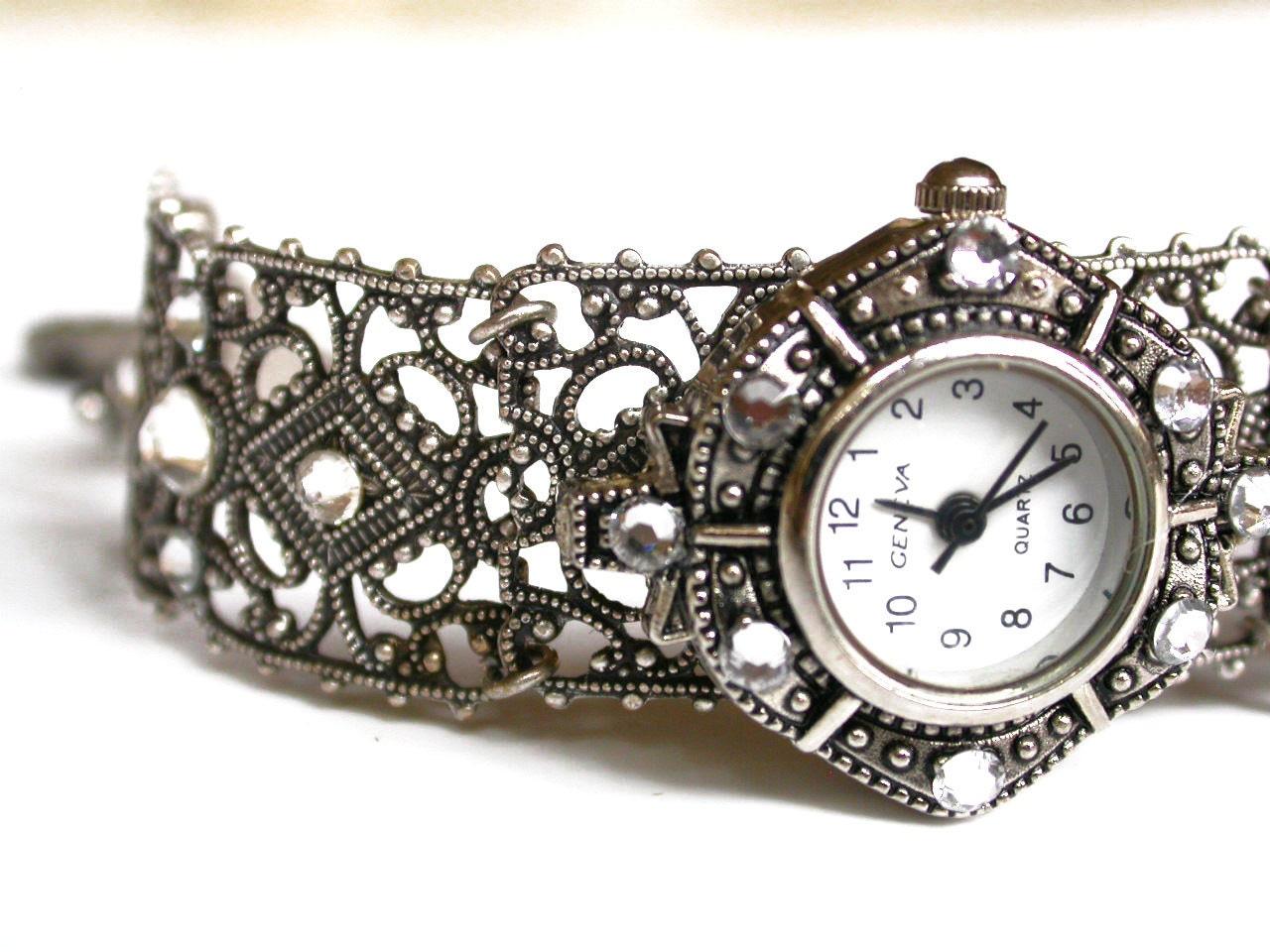 Silver Women Watch Filigree Bracelet Watch for Women Ladies