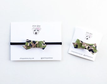 The Lucy Mini Military Camo Ribbon Bow Clips or Nylon Headbands | Military Bows, Patriotic Hair Bows, Camo Bows, Army Hair Bows, Marine Bows