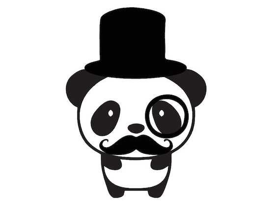 Tophat monocle mustache panda custom die cut vinyl decal