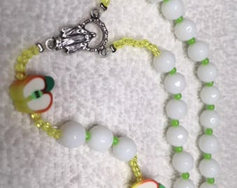 Rosary with Apple Slices for Pater Beads Snow White Faceted Beads Lime Green Yellow Accents Italian Silver Medal and Crucifix Teacher Gift