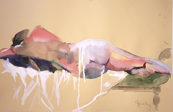 Nude #1528- original watercolor painting by Gretchen Kelly