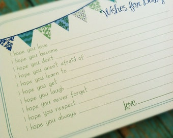 PRINTABLE Wishes for Baby Boy Cards - Unique Baby Shower Activity Game or Memory Book Idea - Blue and Green