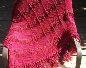 New Hand Knitted Afghan Throw Blanket Maroon Burgundy Wine Dark Red Soft Home Decor Decorative Modern Design Gift Gifts One Of A Kind
