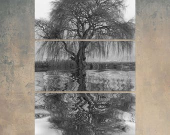 Weeping Willow in Rippling Water Triptych Metal Wall Art