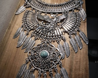Necklace silver feather bib steampunk phoenix Harry Potter ♰Griffindor♰ maxi
