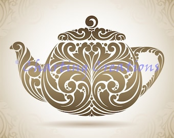 Teapot Silhouette Counted Cross Stitch Pattern