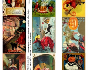 Witches of Halloween V1 Collage Sheet  - Digital Download JPG file by Swing Shift Designs