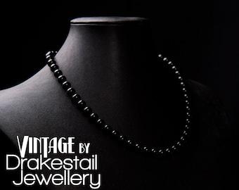 Vintage Inspired Swarovski Pearl Necklace in Black