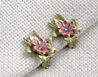 AB Rhinestone Enamel Clip Earrings Vintage 60s Costume Jewelry Pink Flowers Free Shipping in the U.S.
