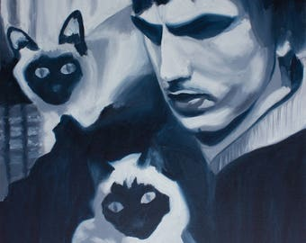 Oil painting-abstract-Man with cats-black & white