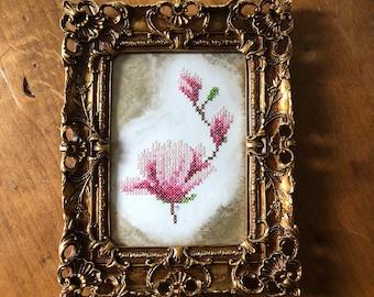 Pink Magnolia Cross Stitch