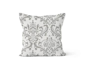 Grey Damask Pillow Cover - Traditions Storm Grey - Lumbar 12 14 16 18 20 22 24 26 Euro - Hidden Zipper Closure