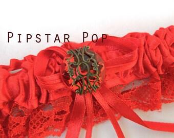 Red Garter with Ruby Red gem - Fantasy fun wedding bridal garter (6 garter color, 12 gem color option) Gothic Victorian