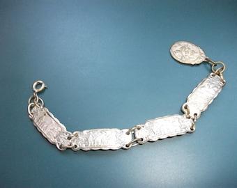 Vintage Story Fairy Tale Panel Links Bracelet With Bunny Rabbit Fob
