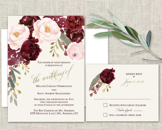 Boho Chic Wedding Invitation Printable Set Marsala Blush