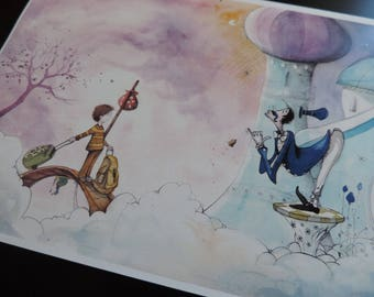 """illustration - Print - watercolor - A4 - child and the King's Butler - """"The imaginary world of Martin"""" - 3"""