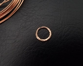 14kt Rose Gold Filled hammered Seamless Septum Daith Ring Forward Helix Earlobe Nose Cartilage gold filled body jewelry