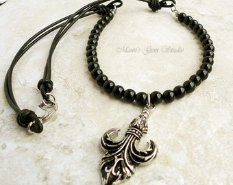 Mens Jewelry - Fleur De Lis Arrowhead Pendant Necklace, Black Onyx and Leather Cord, Mens Necklace