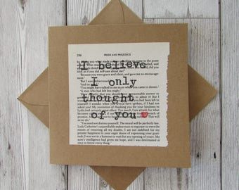 Pride and Prejudice Quote Card, Jane Austen Greeting Card, Valentine Card, Love Greeting Card, Romantic quote card