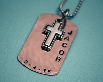 Boys Cross Necklace, Boys Confirmation or First Communion Gift, Copper Dog Tag Cross Necklace for Boys,  Hand Stamped and Personalized