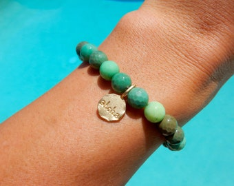 Emerald green stretchy beaded bracelet with 14 KT gold ALOHA charm