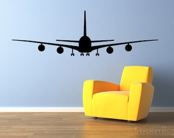 """Airliner Airplane Wall Decal Front View 60""""x19"""" Vinyl Wall Decal Graphics"""