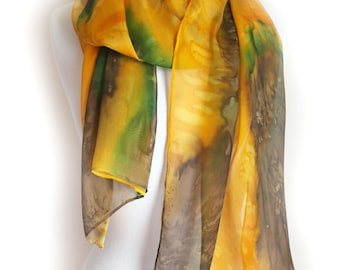Large Silk Scarf - Gold and Brown Silk Scarf - Hand Painted Silk Scarves - Eye of the Tiger