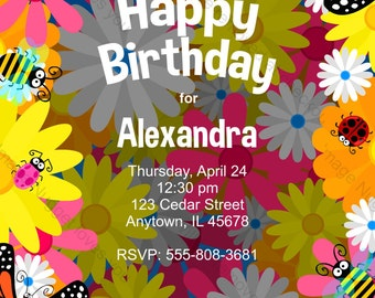Flower Birthday Party Invitation - printable birthday invite for a flower themed floral 90s party