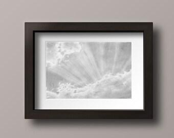 Sunbeam Print - Sun Art Print - Sun Print - Sun Rays - Cloud Print - Cloud Art Print - Sun Decor - Bathroom Decor - Cloud Wall Art