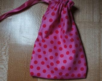 Pink Polka Dot Drawstring Bags