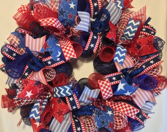 Summer Wreath, Fourth of July Wreath, 4th of July Wreath, Wreath, Wreaths, Patriotic Wreath, Wreath, Patriotic decor, 4th of July decor