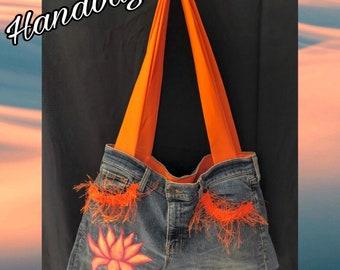 Handbag-Lotus Flower Hand Painted - Unique Piece-Tote Bag