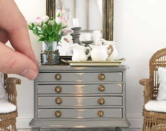 Miniature chest of drawers - french country grey - Dollhouse - Roombox - Diorama - 1:12 scale