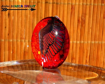 "Pendant 4 cm x 3 cm oval Cabochon (""1.57 x""1.18 "") glass coloring fathers multicolor Iridescent wing of Ange-color red and Orange"
