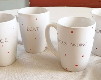 Mugs, Gift Peace, Love, Understanding, Merry Christmas, Personalized, Polka Dots, Red, Personalized Christmas Gift, Family Gift, Mugs Set 4