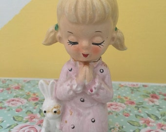 Vintage Kitschy Praying Girl With Bunny Figurine