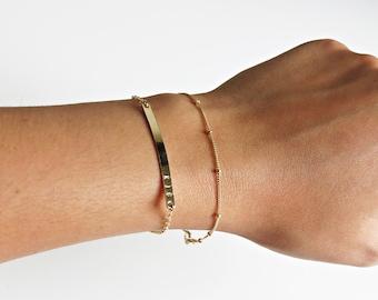 Simple Gold Bracelet, Delicate Gold Bracelet, Dainty Chain, Dainty Jewelry, Everyday Bracelet, Chain Bracelet, Beaded Chain, Silver Bracelet