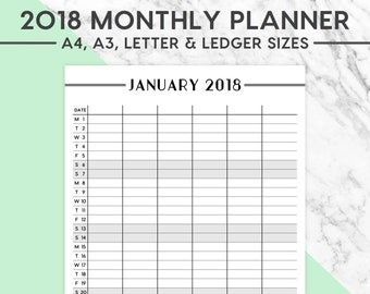 New! 2018 MONTHLY FAMILY CALENDAR | A4, A3, Letter, Ledger, Calendar, Family Planner, 2018 Calendar, Instant Download