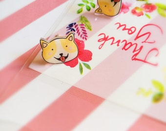 Kawaii Shiba Inu Earrings, Cute Handmade Dog / Puppy Studs, Doge Earrings, Gift for Her, Animal Earrings