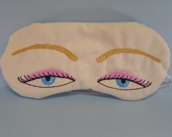 Embroidered Eye Mask, Sleeping, Cute Sleep Mask for Kids or Adults, Sleep Blindfold, Slumber Mask, Eyes Design, Eye Shade, Travel, Handmade