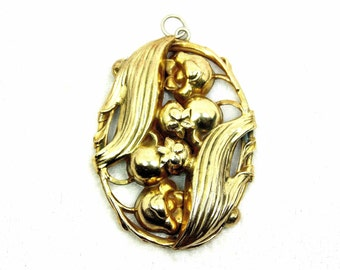 Art Nouveau Lily of the Valley Pendant, Repousse, Gold Tone, Large Oval, Vintage