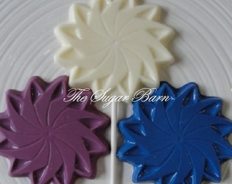 PINWHEEL CHOCOLATE Lollipops*12 Count*Bridal Shower*Garden Party Favors*Birthday Favor*Mother's Day*Gifts for Her