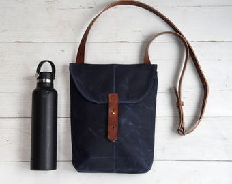Waxed Canvas Hunter Satchel, Rook Indigo, Bag, Purse, Crossbody Bag, Small Travel Bag, Gift for Her, Gift for Husband, Man, Kids Peg and Awl