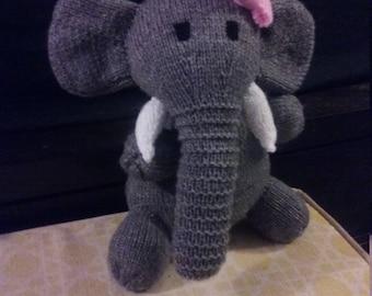 Hand Knit Girl Stuffed Elephant Animal