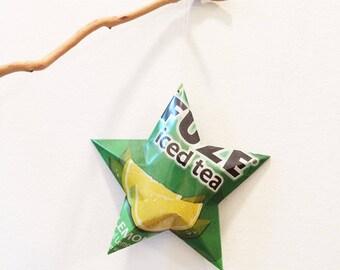 Fuze Iced Tea Stars, Christmas Ornaments, Aluminum Can Upcycled