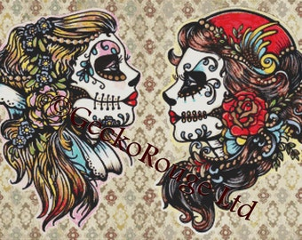 Cross Stitch Kit 'Rose Red and Snow White By Illustrated Ink, Sugar Skul, Day ofthe Dead Tattoo Art